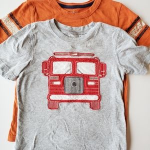 5T Carters T-shirts bundle fire truck and football